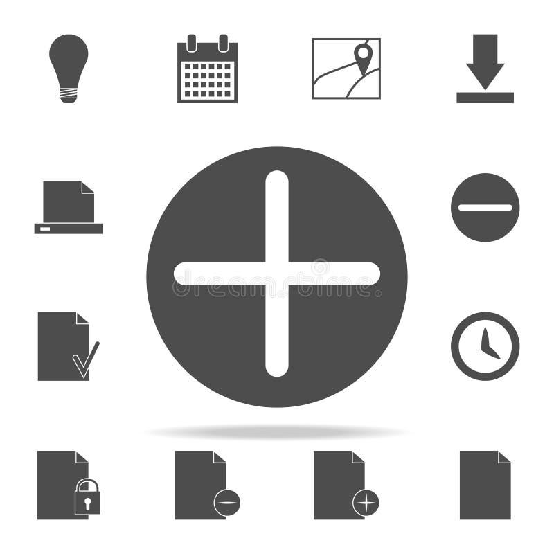 più in un'icona del cerchio insieme universale delle icone di web per il web ed il cellulare illustrazione vettoriale