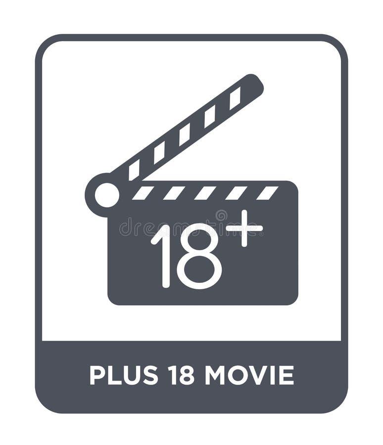 più un'icona di 18 film nello stile d'avanguardia di progettazione più un'icona di 18 film isolata su fondo bianco più l'icona di illustrazione di stock