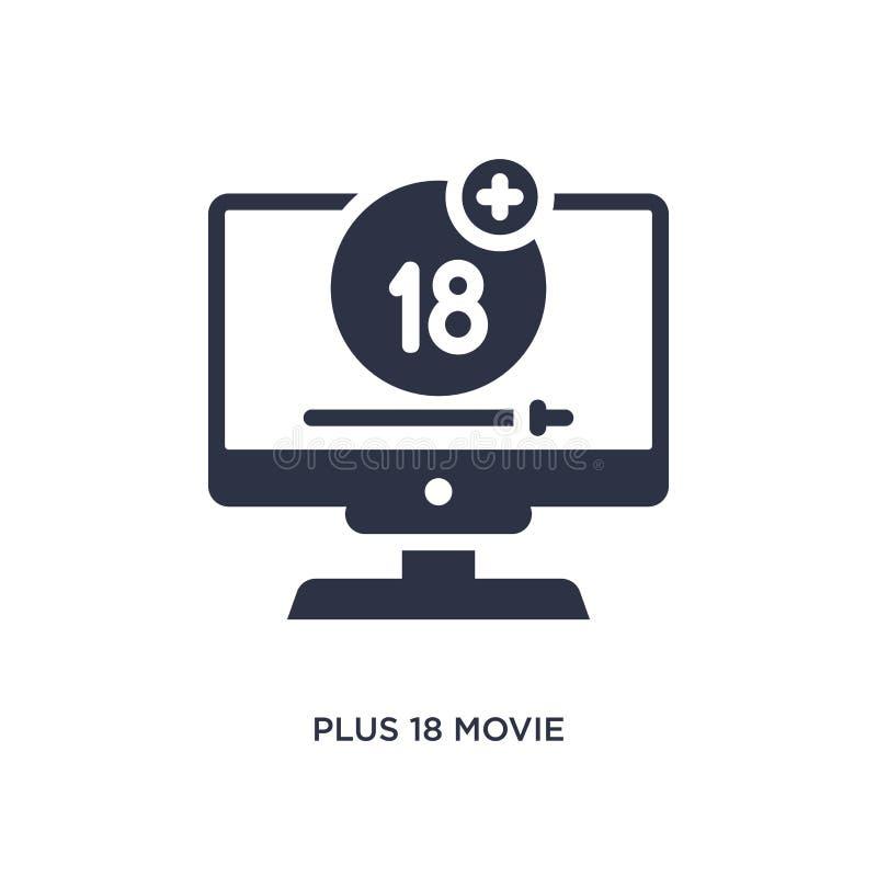 più un'icona di 18 film su fondo bianco Illustrazione semplice dell'elemento dal concetto del cinema illustrazione di stock