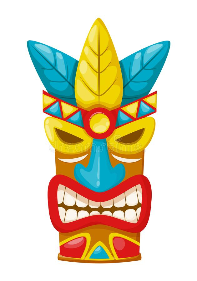 Più vecchia maschera tribale etnica variopinta tradizionale, accessori dell'Hawai illustrazione di stock