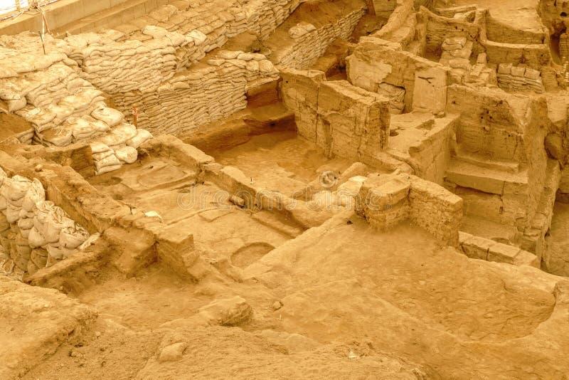 Più vecchio stabilimento di Catalhoyuk in Konya immagini stock