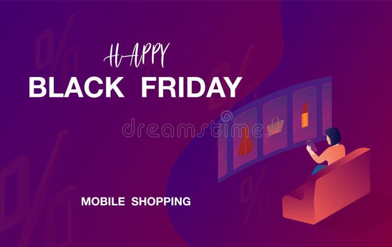 piątek czarny sprzedaż Telefon komórkowy Mobilnego sklepu pojęcie również zwrócić corel ilustracji wektora royalty ilustracja