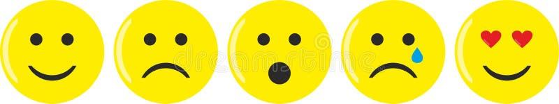 Pięć żółtych emoticons z różnorodnymi nastrojami ilustracja wektor