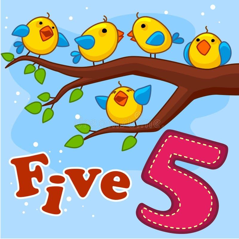 Pięć żółtych ptaków ilustracja wektor