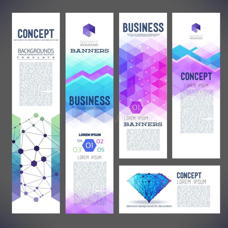 Pięć abstrakcjonistycznych projektów sztandarów, biznesowy temat ilustracji