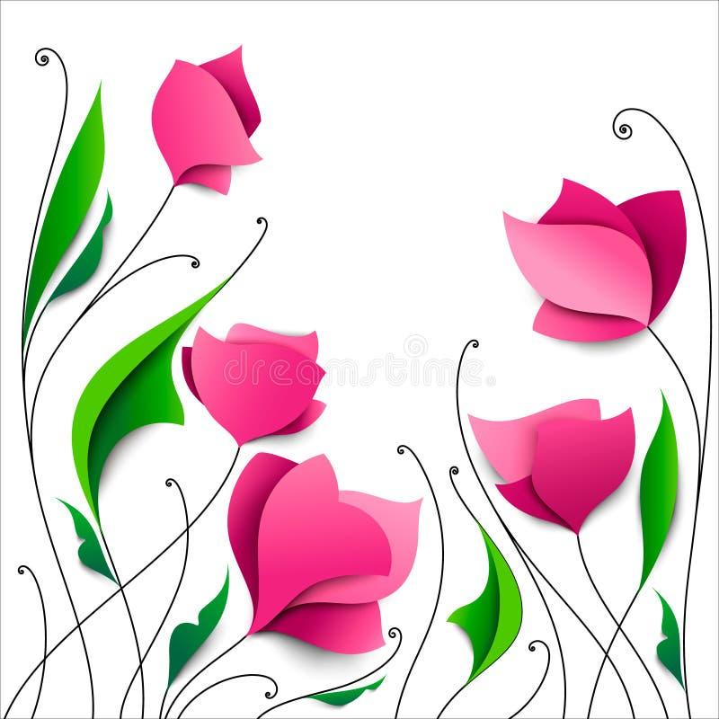 Pięć abstraktów różowych papierowych kwiatów elegancki kwiecisty tła Gre royalty ilustracja
