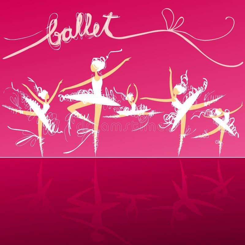 Pięć baletniczych tancerzy na scenie royalty ilustracja