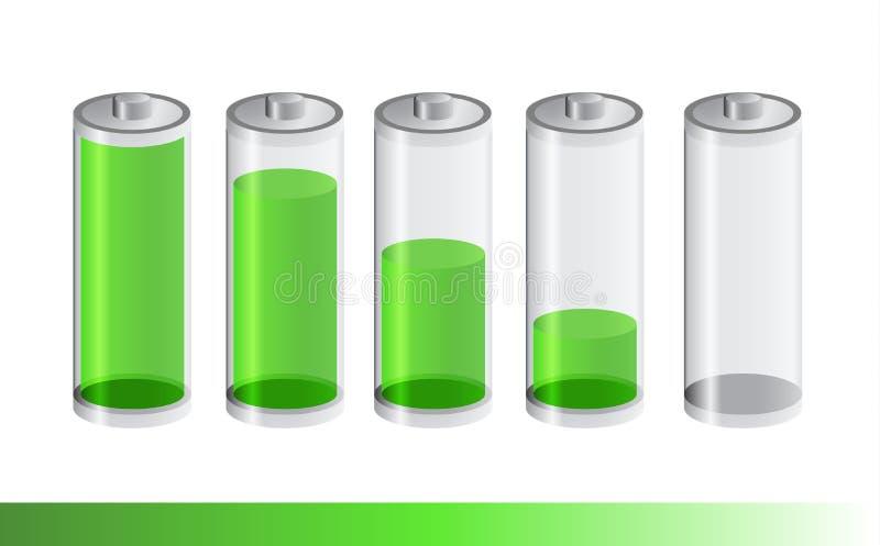 Pięć baterii zielony przejrzysty poziom royalty ilustracja