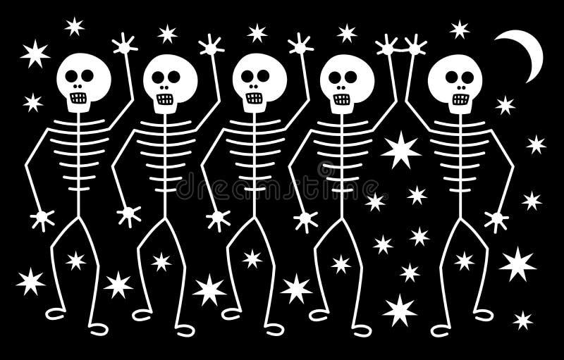 Pięć białych szkieletów ludzkich na tle gwiazd i księżyca Horror w Halloween ilustracji