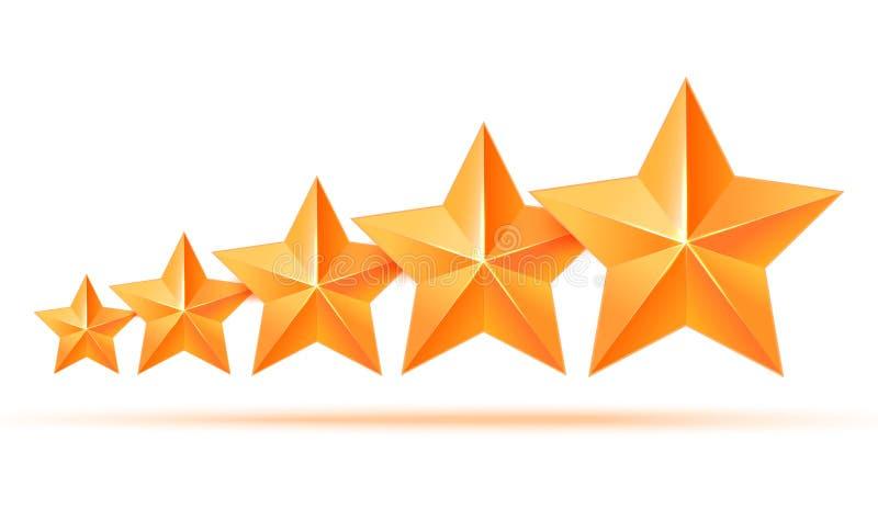 Pięć 3d złota gwiazd premia Najlepszy nagroda ilustracji