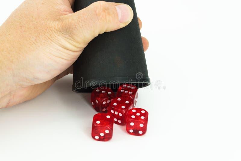 Pięć dices z ręką zdjęcia stock