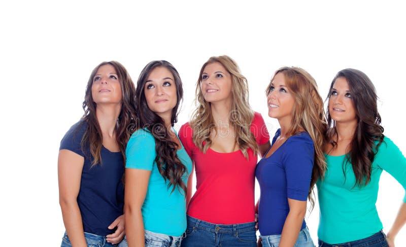 Pięć dobrych przyjaciół przyglądających up obrazy royalty free