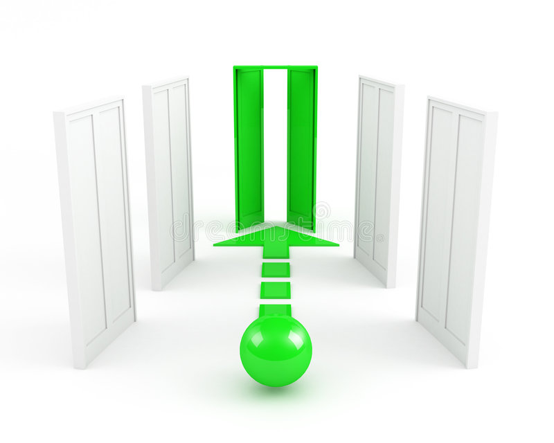 Pięć drzwi ale wybierają zieleń ilustracja wektor