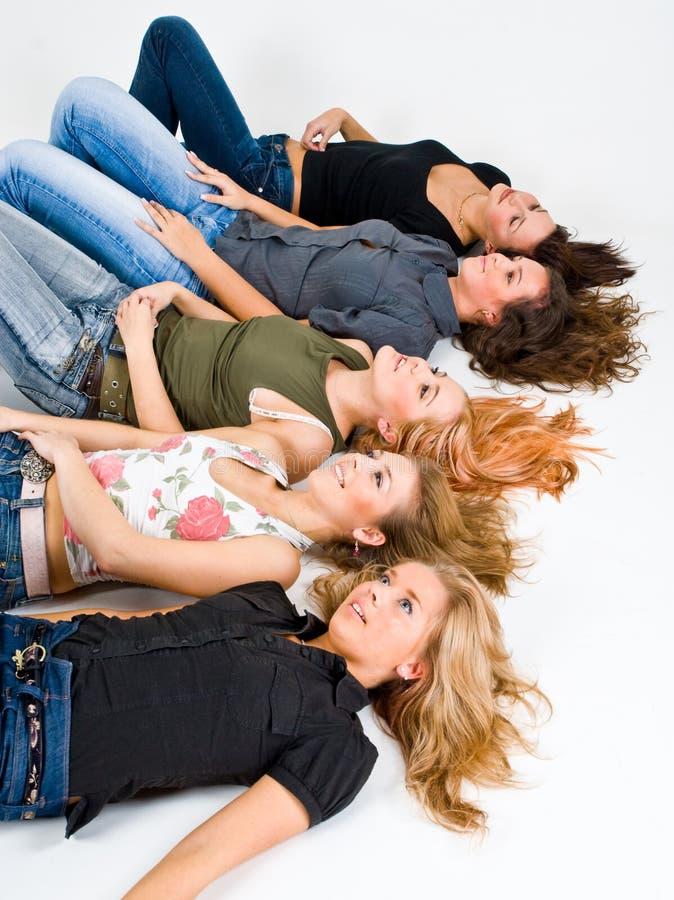 pięć dziewczynek studio obraz stock