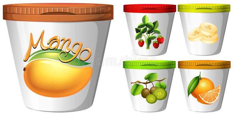 Pięć filiżanek jogurt z owoc ilustracja wektor