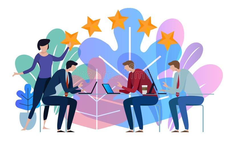 Pięć gwiazd biznesu drużyna pracuje opowiadać wpólnie przy dużym konferencyjnym biurkiem tła odcisku palca ilustracyjny biel ilustracja wektor
