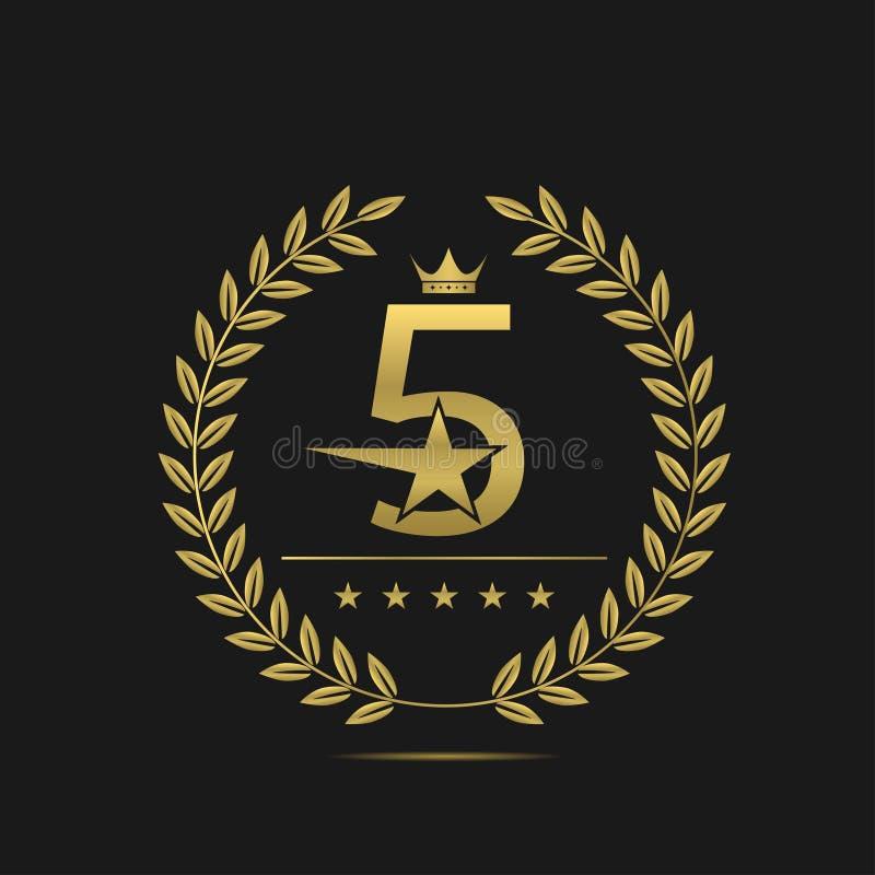 Pięć gwiazd etykietka royalty ilustracja