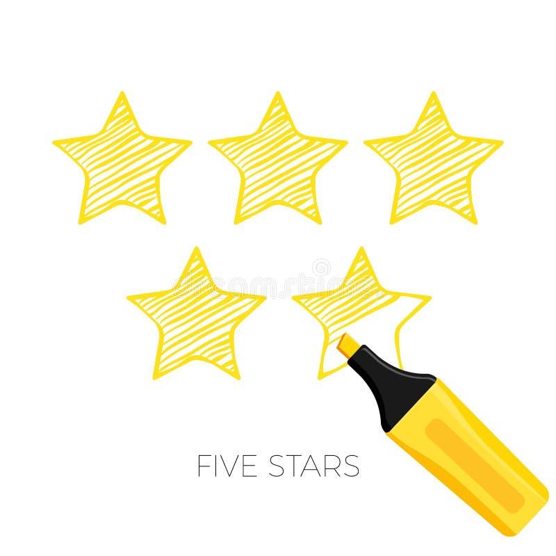 Pięć gwiazd oszacowywa plakat z nagłówka wektoru ilustracją ilustracji