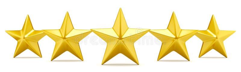 Pięć gwiazdowych ratingowych błyszczących złotych gwiazd