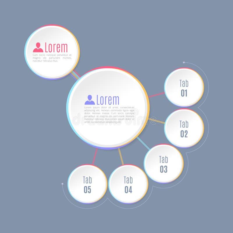 Pięć Infographics krok, Kółkowi kształty, Wielo- równy hierarchii infographics ilustracja wektor