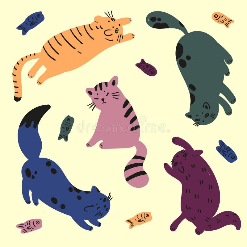Pięć kolorowych kotów bawić się z ryba Catfood ilustracji