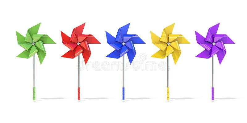 Pięć kolorowych pięć popierających kogoś pinwheels royalty ilustracja