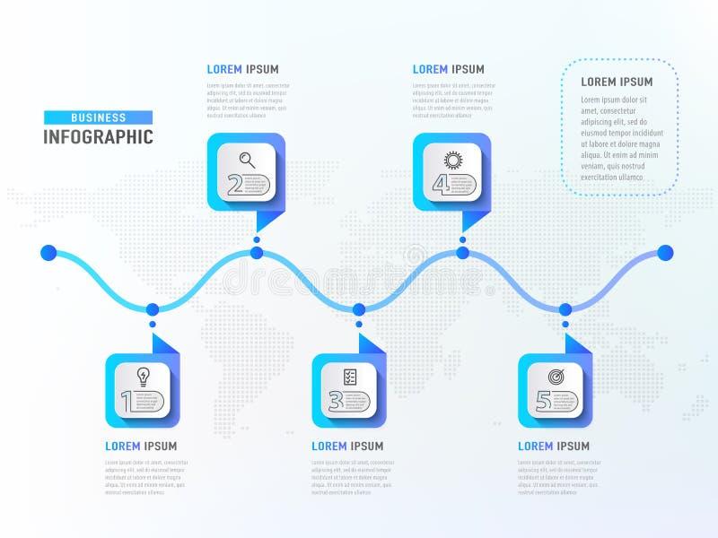 Pięć kroków obieg Linia czasu elementy Biznesowego pojęcia infographic szablon również zwrócić corel ilustracji wektora ilustracja wektor