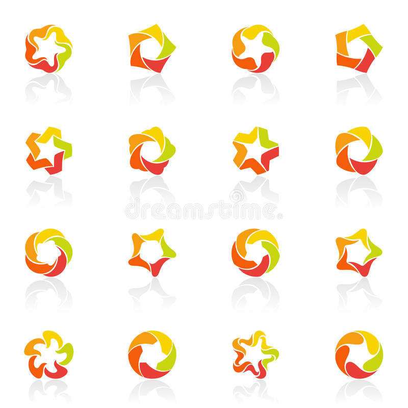 pięć logo wskazywał ustalonego gwiazd szablonu wektor ilustracja wektor