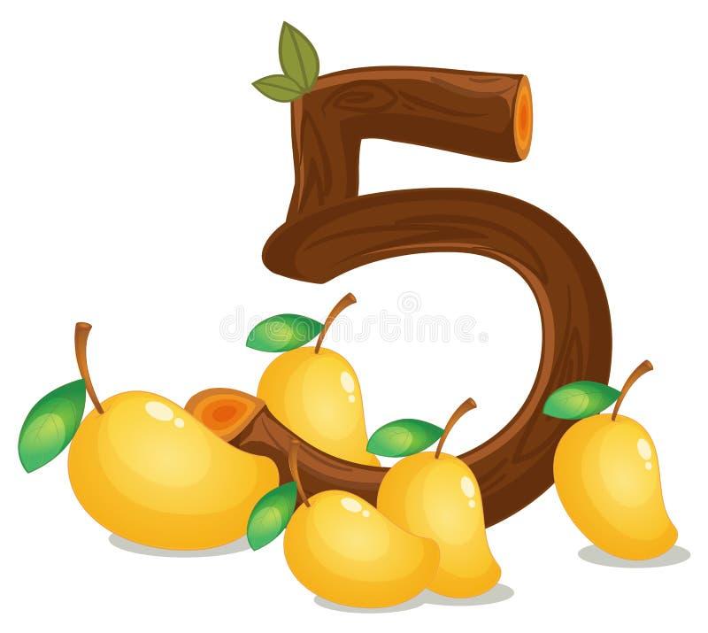 Pięć mango ilustracja wektor