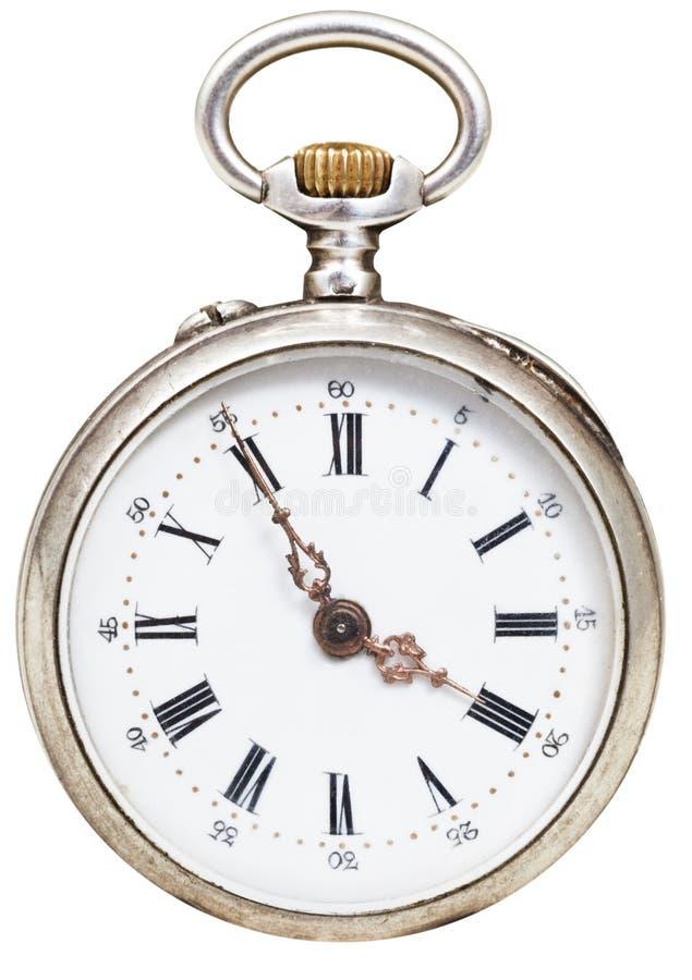 Pięć minut cztery godziny na tarcza retro zegarku obrazy stock