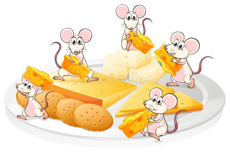 Pięć myszy z serem i ciastkami ilustracja wektor