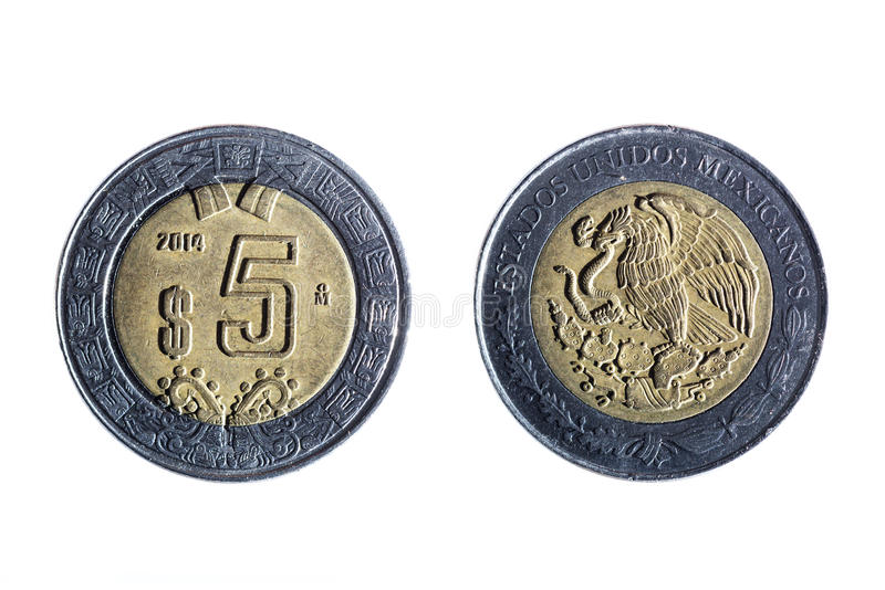 Pięć peso meksykanina moneta obraz royalty free