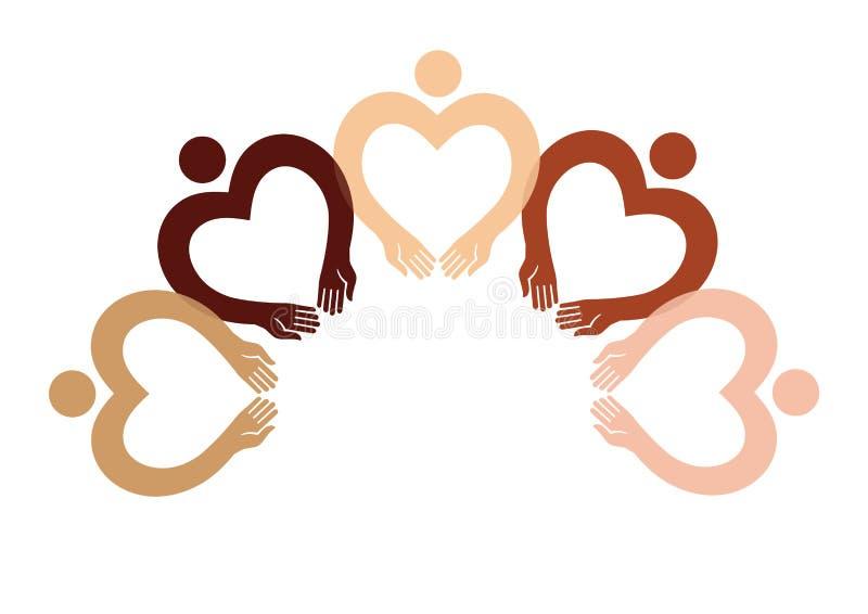 Pięć piktografów ludzkie postacie w formie serca z różną kolor skórą ilustracja wektor