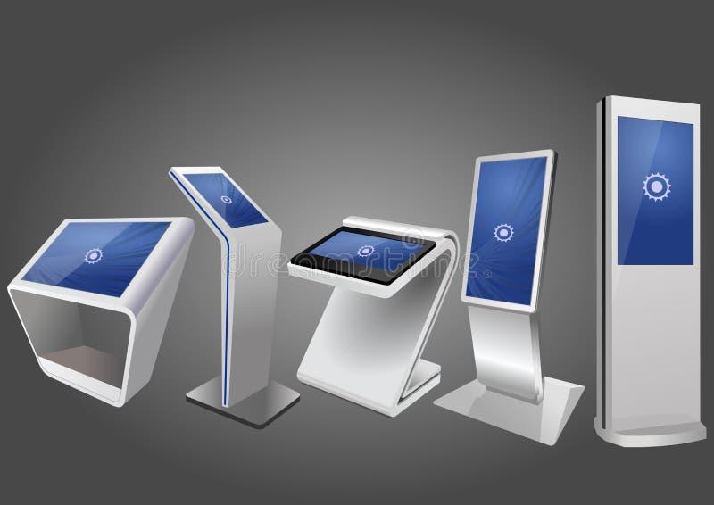Pięć Promocyjny Interaktywny Ewidencyjny kiosk, Reklamuje pokazu, Terminal stojak, dotyka Parawanowy pokaz Egzamin próbny w górę  ilustracji