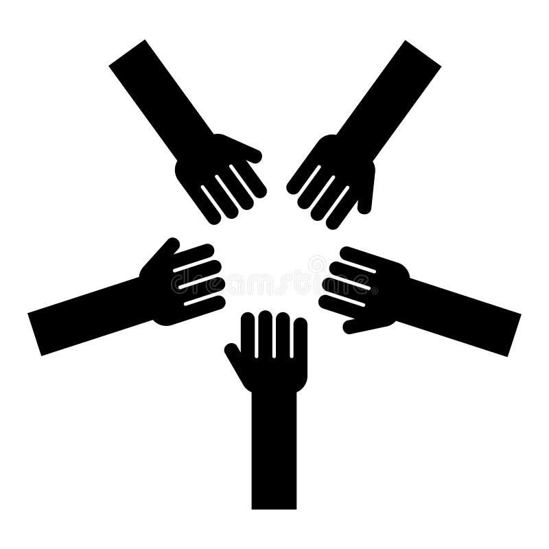 Pięć ręk Grupują ręki Wiele ręk złączone Otwarte palmy ludzie stawia ich ręki wpólnie Brogują ręki pojęcia jedności ikony czerń ilustracji