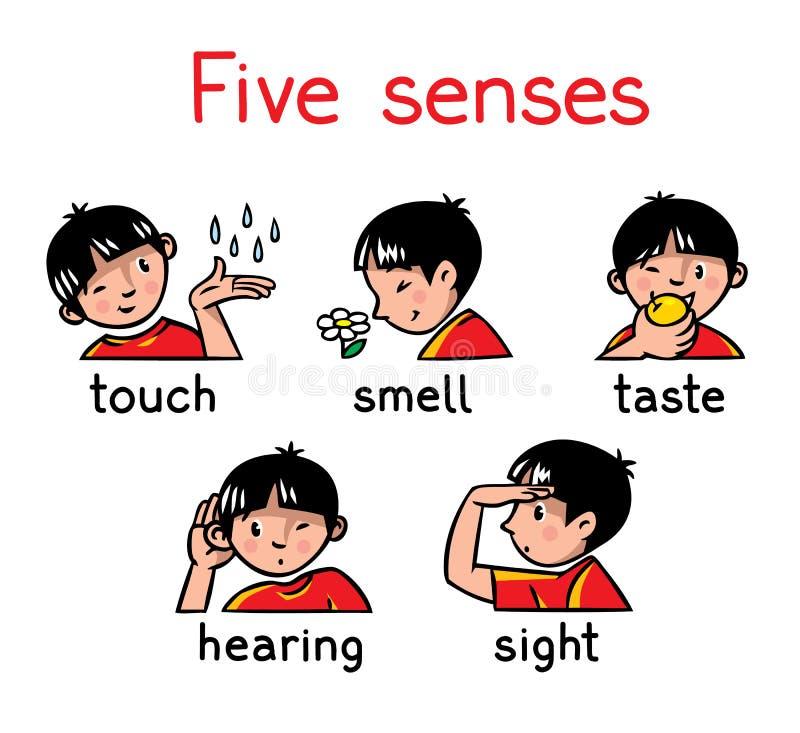 Pięć sensów ikony set royalty ilustracja