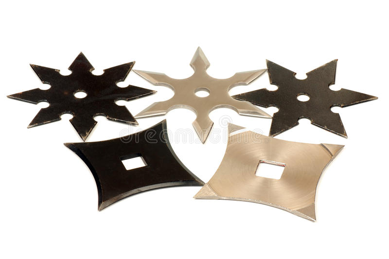 Pięć shurikens obrazy stock