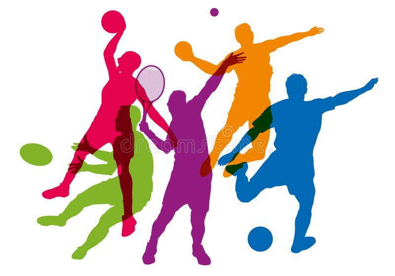 Pięć sylwetek w kolorach sportowowie w akci ilustracja wektor