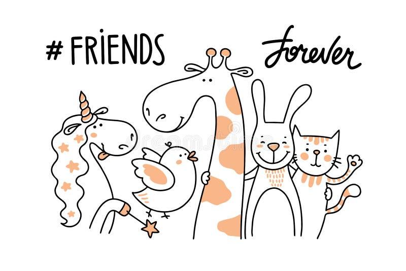 Pi?? szcz??liwych zwierz?cych przyjaci ilustracja wektor