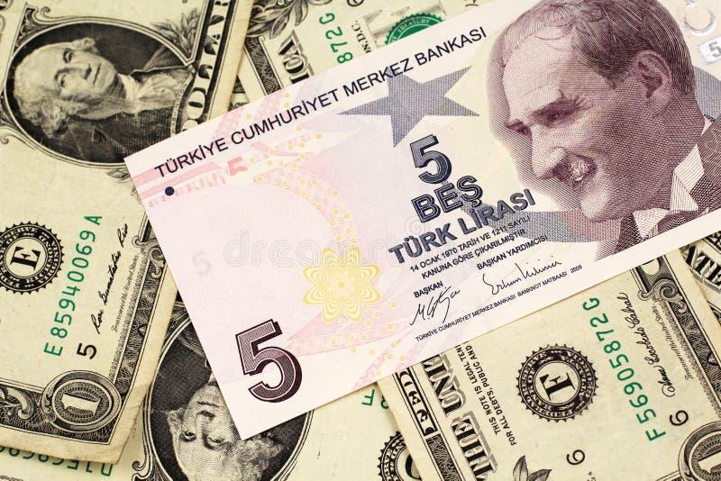 Pięć Tureckiego lira banknot na tle jeden dolarowi rachunki zdjęcia stock