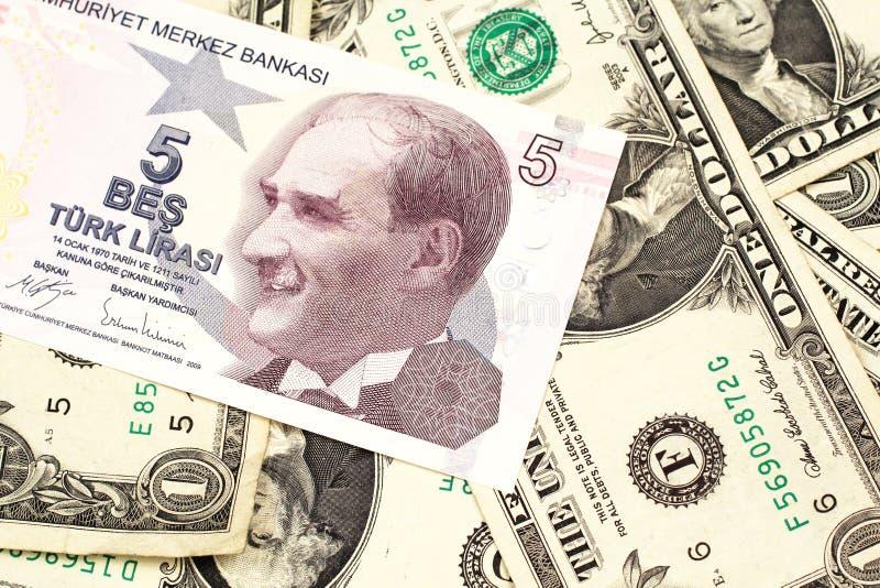 Pięć Tureckiego lira banknot na tle jeden dolarowi rachunki fotografia royalty free