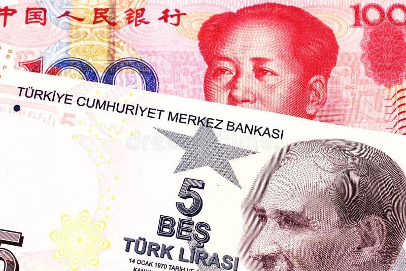 Pięć Tureckiego lira banknot z sto chińczyka Juan rachunkami fotografia stock