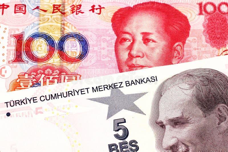 Pięć Tureckiego lira banknot z sto chińczyka Juan rachunkami obraz stock