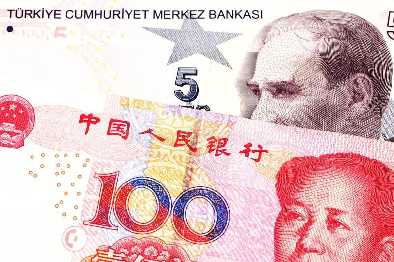 Pięć Tureckiego lira banknot z sto chińczyka Juan rachunkami zdjęcie stock