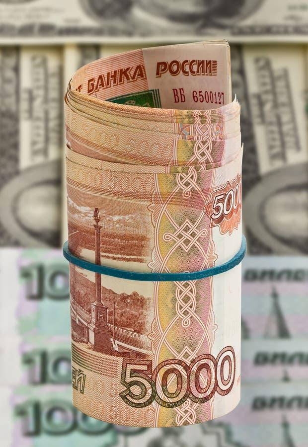 Pięć tysięcy Rosyjskich rubli dla dolara tła zdjęcie stock