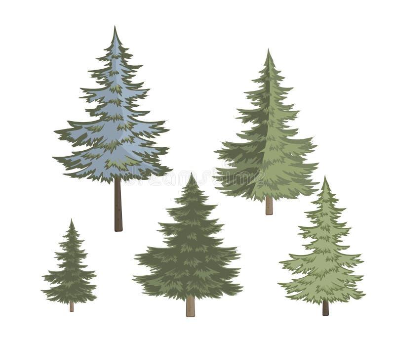Pięć wariantów choinka na białym tle royalty ilustracja
