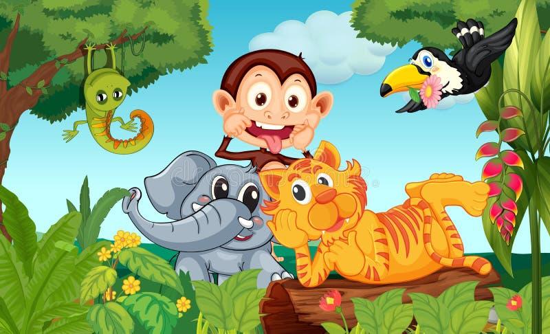 Pięć zwierząt przy lasem ilustracji