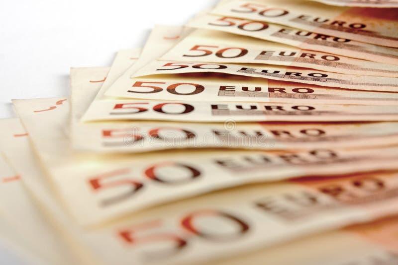 Pięćdziesiąt Euro notatek obraz royalty free