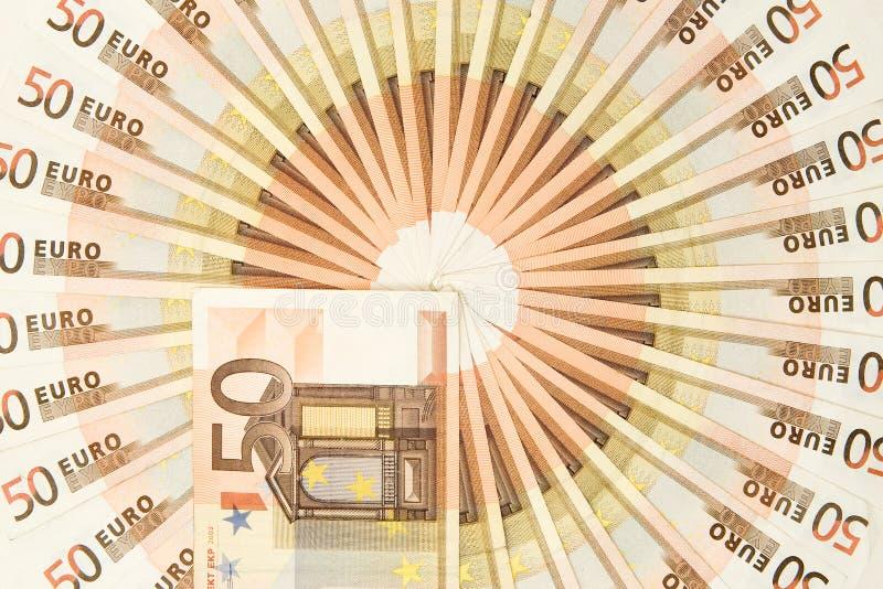 Pięćdziesiąt Euro pieniądze okrąg fotografia royalty free