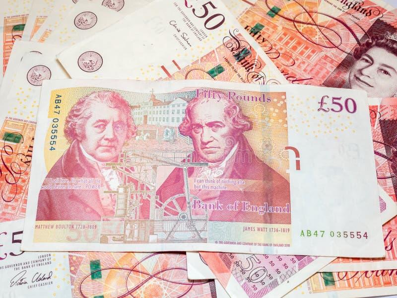 Pięćdziesiąt funtów Brytyjski banknotów zdjęcia stock